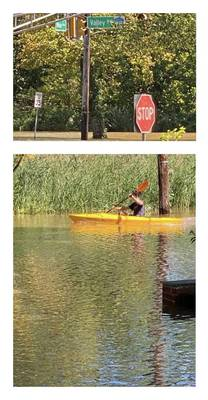 Update Friday After Ida: Warren Police Warn of Roads Closed Indefinitely, Long Hill Flooding Continues, Humane Society Needs Donations ( Kayaker at Valley and Main intersection in Long Hill)
