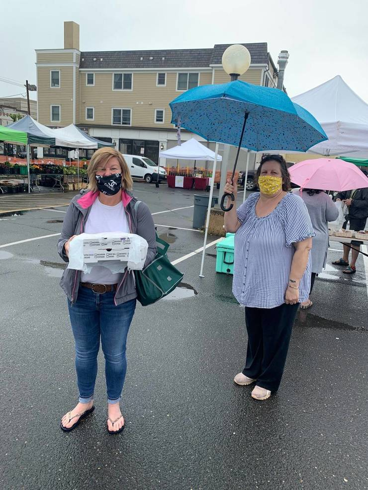 Fanwood Mayor Colleen Mahr with Lisa Mohn at the Scotch Plains Farmers Market on Saturday, May 23.