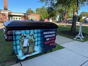 WATCH: 'Bragin' Rights: Edison School Superintendent Tosses Labor Union's Casket Display at Elementary School.