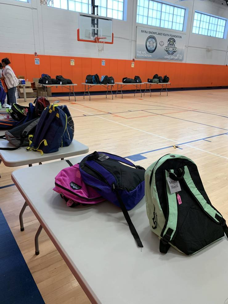 Backpack distribution at the Newark Boys and Girls Club