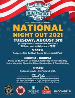 Bloomfield National Night Out Events to be Held at Foley Field