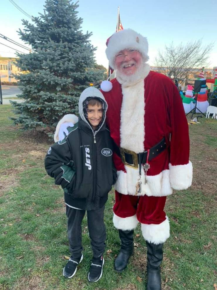 Sean Mott with Santa