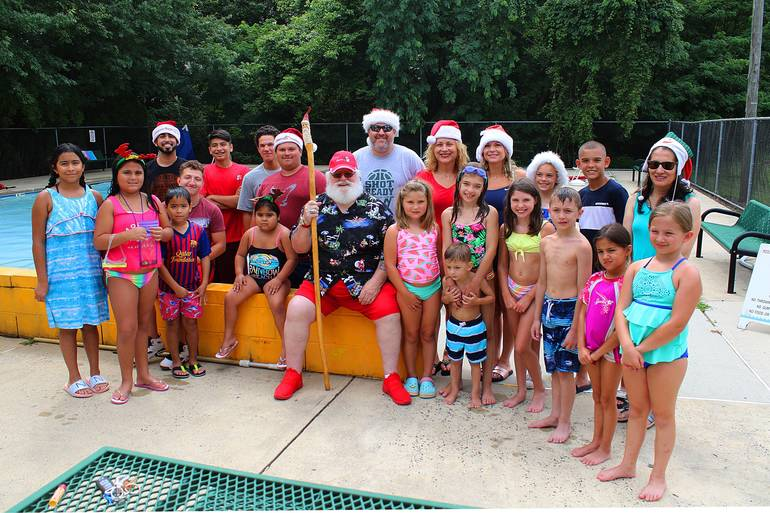 Christmas In July Swimsuit.Santa Claus Visits Raritan Pools For Christmas In July