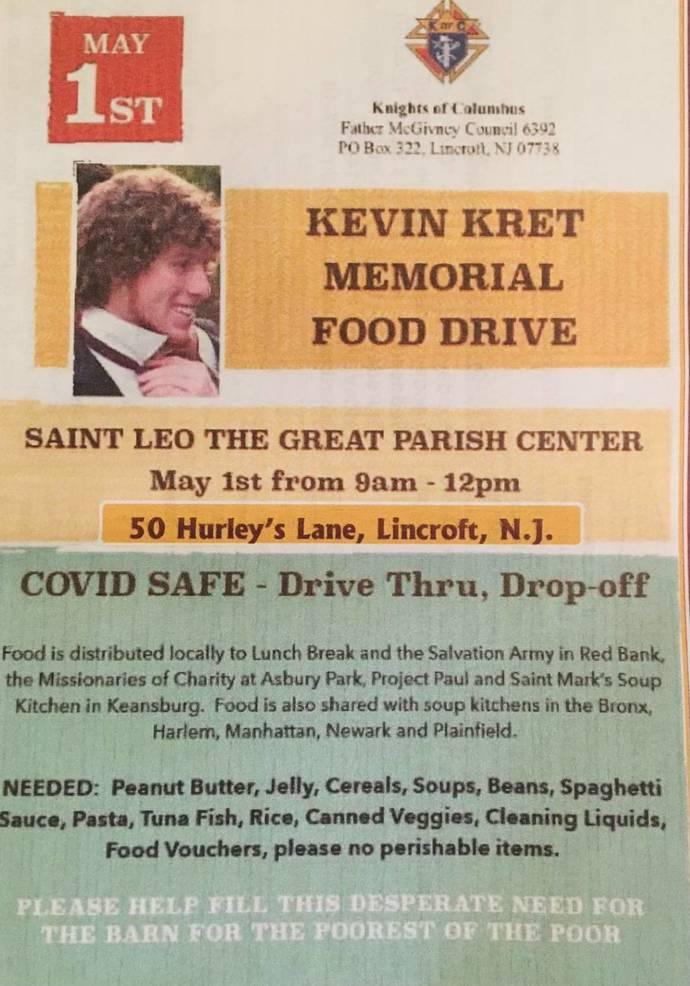 May 1: Kevin Kret Memorial Food Drive; Easy 'Drive Thru Drop Off'