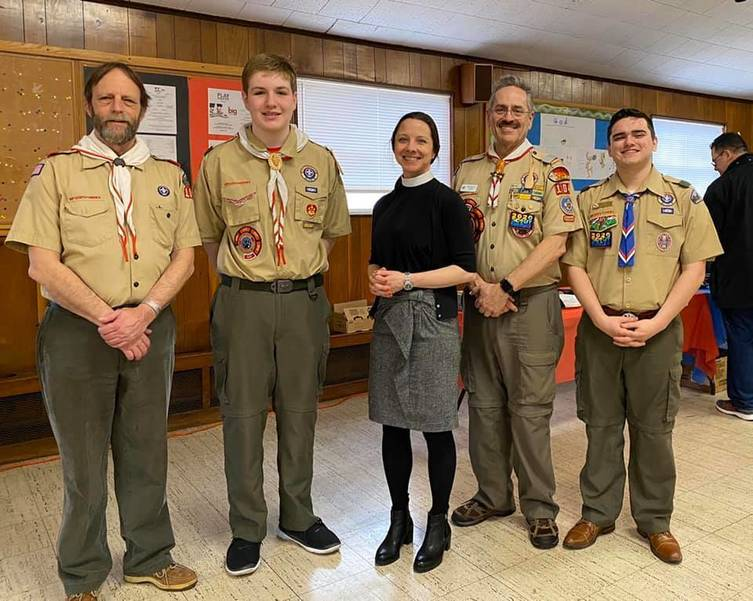 Troop 104 Scouts and Adult Leaders with Reverend Susanna Cates