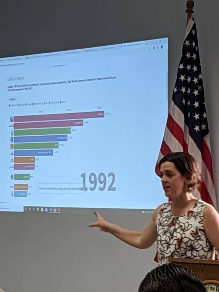 """Lauren O'Brien at """"New Jersey's Climate Emergency: Moving to a Green Economy & Holding Climate Polluters Accountable,"""" hosted by Mayor Colleen Mahr in Fanwood."""