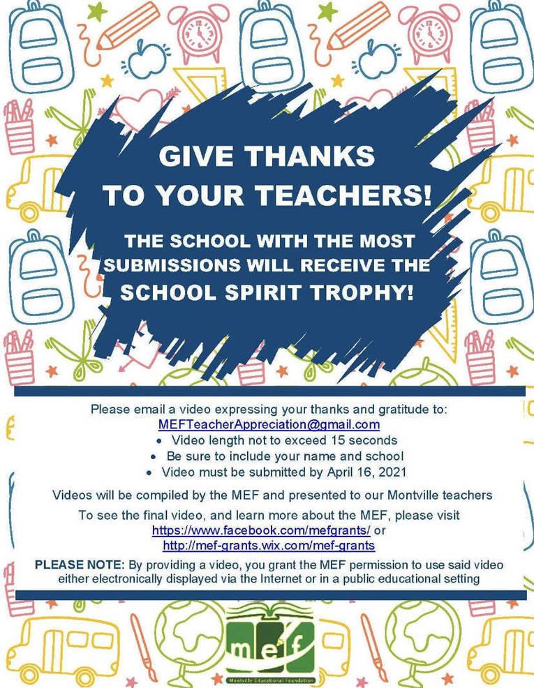 Montville Teacher Appreciation Contest