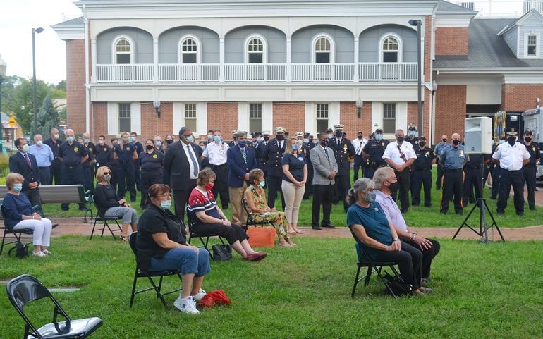 Crowd at the Scotch Plains 9/11 memorial service on Friday, Sept. 11, 2020.