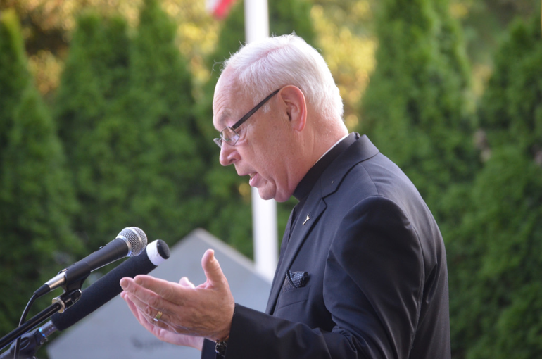 Deacon Gurske gave the benediction at the 9/11 ceremony in Scotch Plains on Wednesday evening.