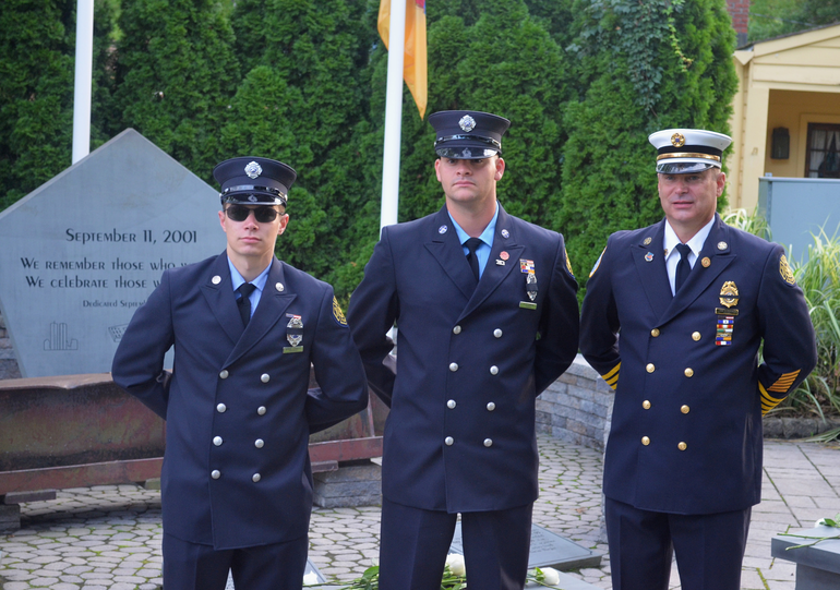 Scotch Plains firefighters at the 9/11 memorial service on Friday, Sept. 11, 2020.