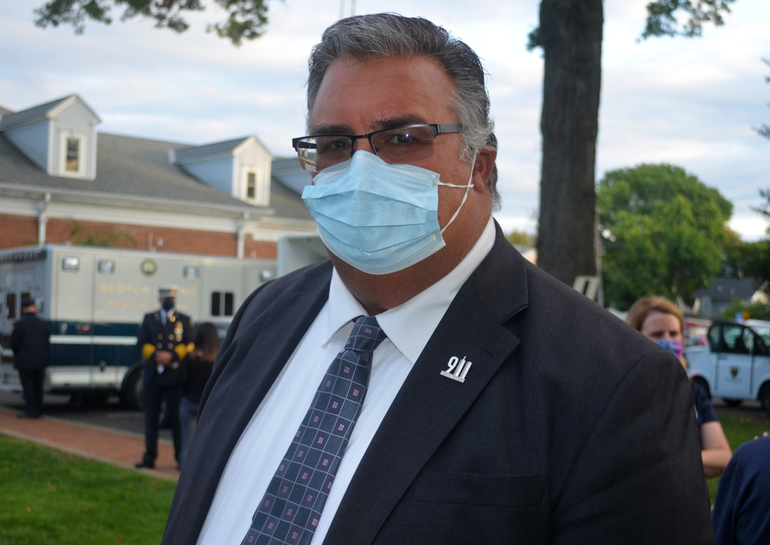 Scotch Plains Township Manager Al Mirabella at the 9/11 memorial service on Friday, Sept. 11, 2020.