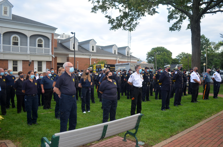 Scotch Plains and Fanwood emergency service workers at the Scotch Plains 9/11 memorial service on Friday, Sept. 11, 2020.