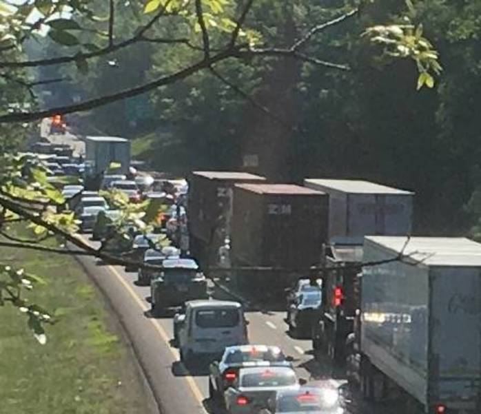 Accident with Jack-Knifed Tractor Trailer Stops Traffic On I-78 east of Warren