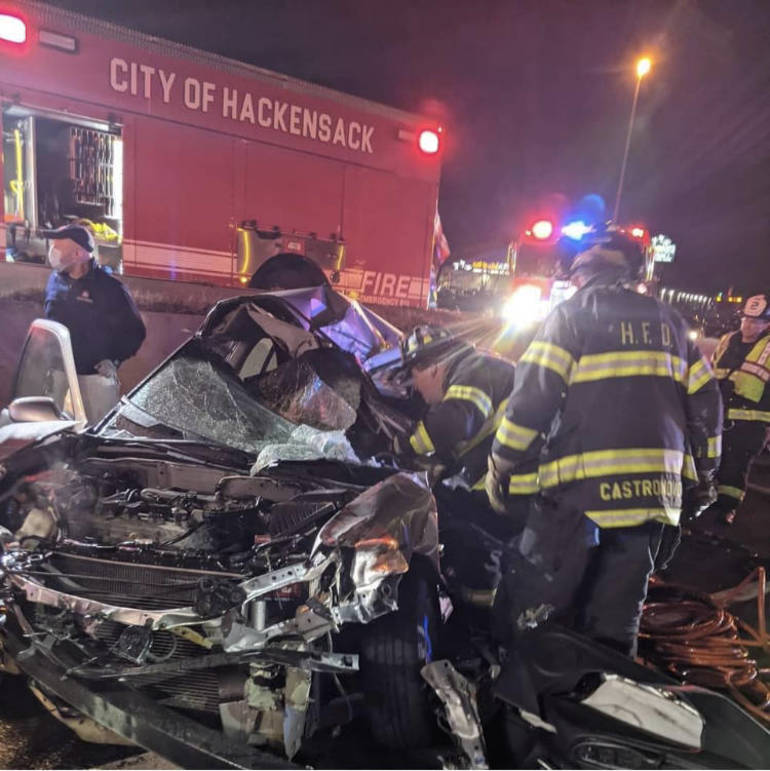 1 Extricated, 1 Ejected in Horrific Motor Vehicle Crash on Route 80 in Hackensack