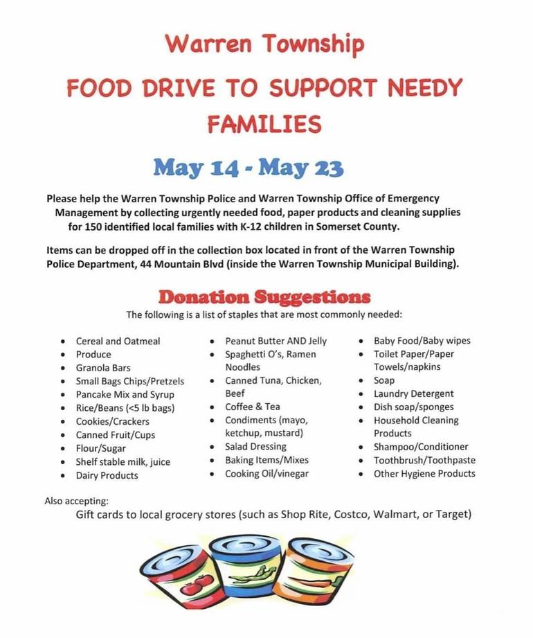 Warren Township Police and OEM Food Drive
