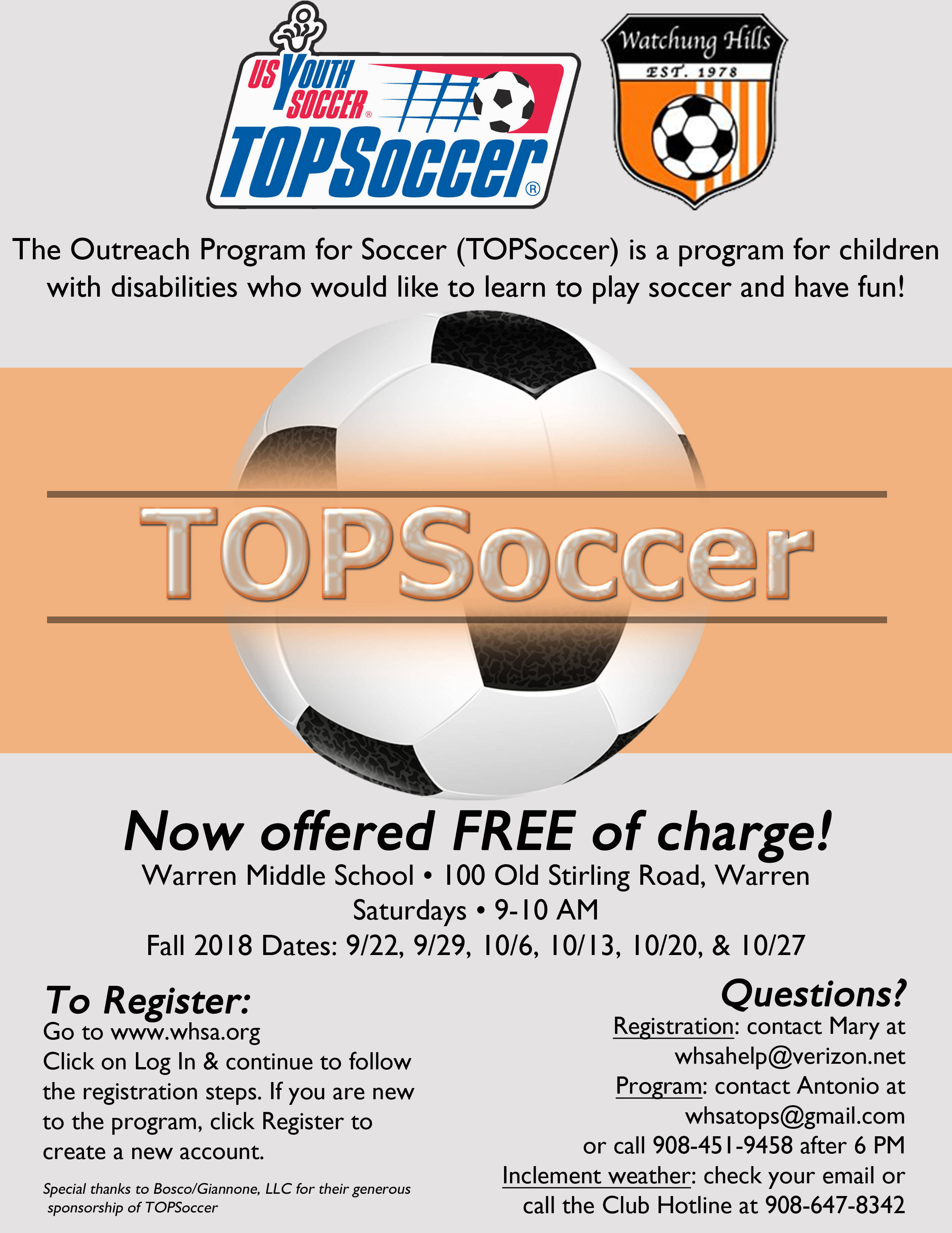 The Outreach Program for Soccer (TOPS) Registration is now open for Fall 2018