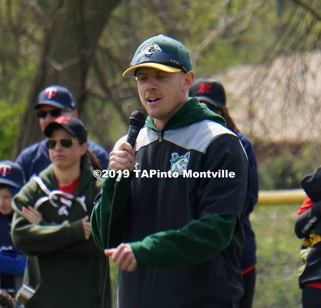 a Baseball coach Ian Schwindel speaks to the players ©2019 TAPinto Montville.JPG