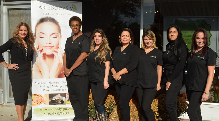 Ruth Wolinsky and her staff at Able Body Spa in downtown Scotch Plains on Saturday, Nov. 9, 2019.
