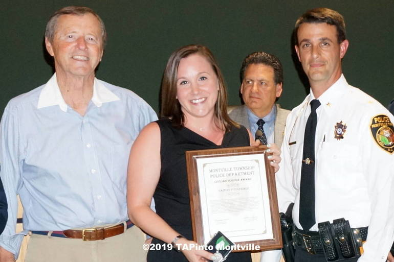 a Caitlyn Fitzgerald with Civilian Service Award ©2019 TAPinto Montville.JPG