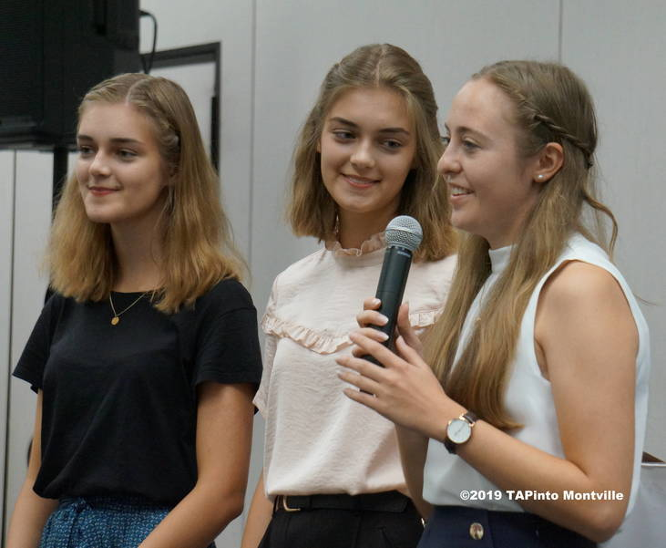 a Clara Aumüller,  Luise Aumüller and Victoria Thiel answer questions at MetroWest ©2019 TAPinto Montville.JPG