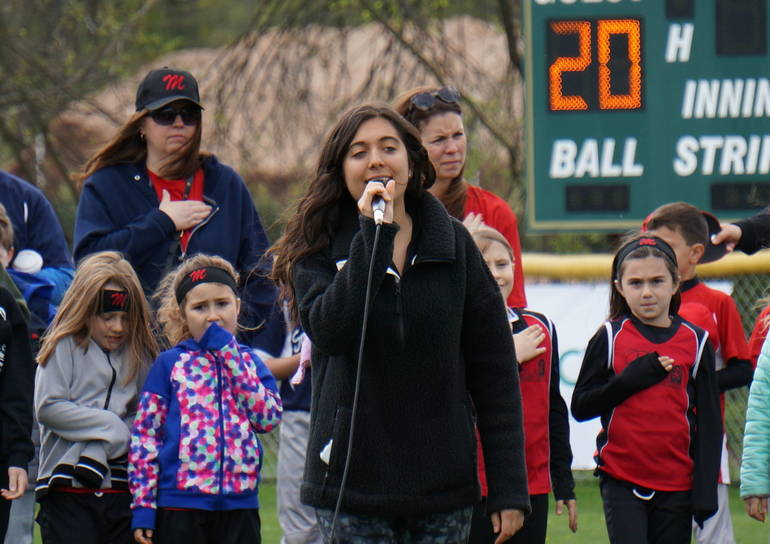 a Claudia Colatrella sings the National Anthem ©2019 TAPinto Montville.JPG