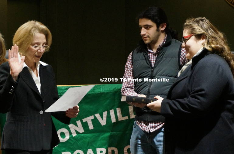 a Dr. Karen Cortellino re-takes the oath of office ©2019 TAPinto Montville.JPG