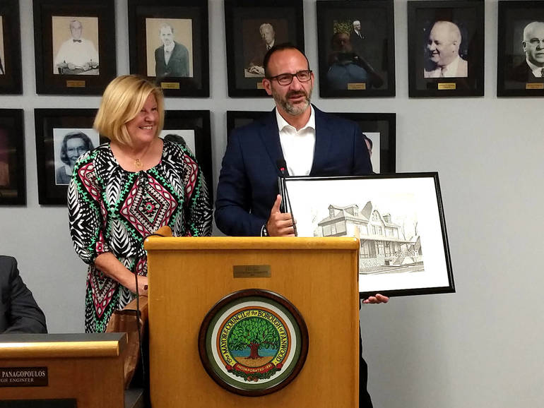 Fanwood Mayor Colleen Mahr with Adam Matty, the Borough's Volunteer of the Month.
