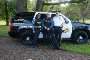 Carousel image 6dc09e708a625427c5e8 a det. sgt. aaron tomasini  det. michael carbone  and sheriff james gannon with boomer  2018 tapinto montville     2