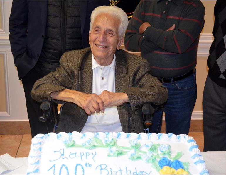 Alphonse Fantini of Scotch Plains celebrates his 100th Birthday with a special dinner at the Italian American Club.