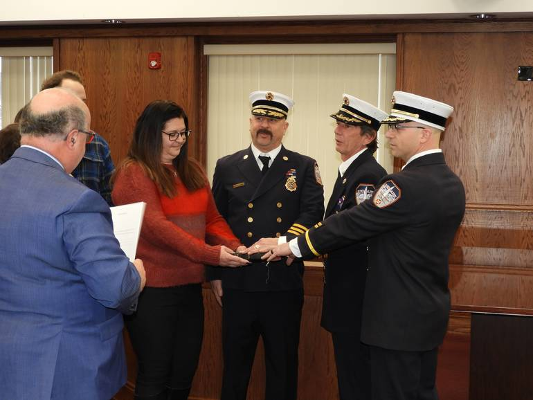 a Getting sworn in, l to r Chief was F. Scott Calabrese, First Deputy Chief Robert J. Holiday and Second Deputy Chief, Nick Ferraro.jpg