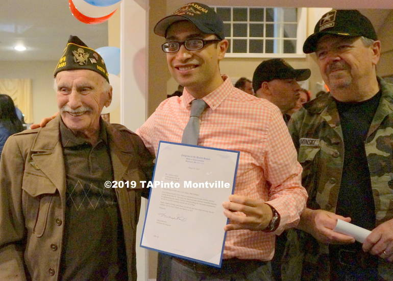 a Herbert Turner L poses with Willy Tolba, Military Veterans Liaison for Congresswoman Mikie Sherrill and Vin Kaminsky Ret Army Reserve, Bd President of Montville Chase.JPG