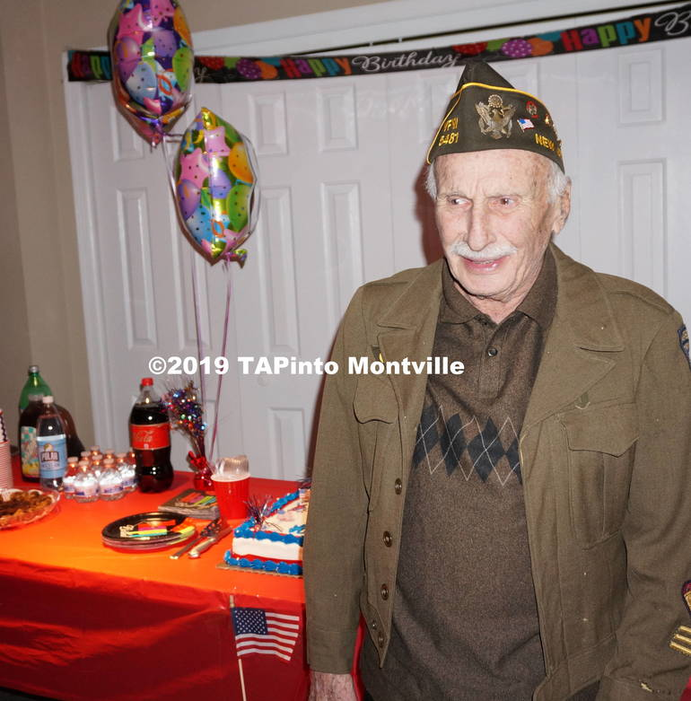 a Herbert Turner, age 98, poses with his birthday cake ©2019 TAPinto Montville.JPG