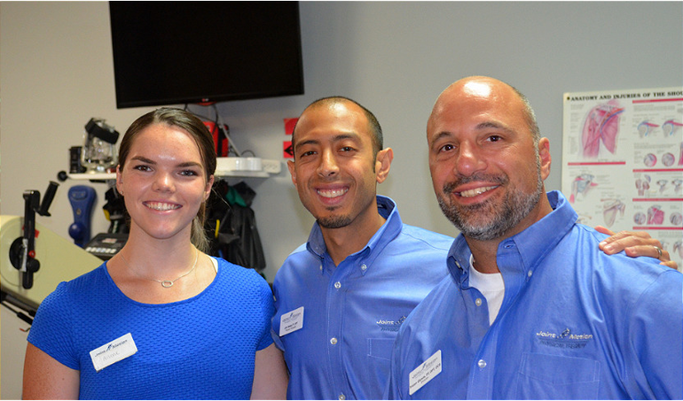 Ailene McNamara, Dr. John Beskal, and Dr. Triston Glynos at Joint Motion Physical Therapy in Scotch Plains.