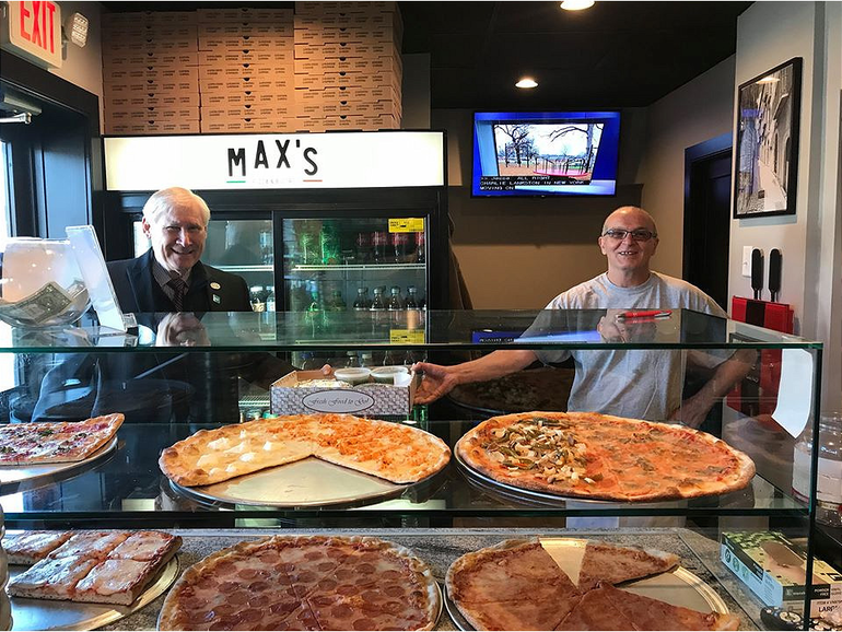 Scotch Plains Mayor Al Smith gets takeout from Max's Pizza.