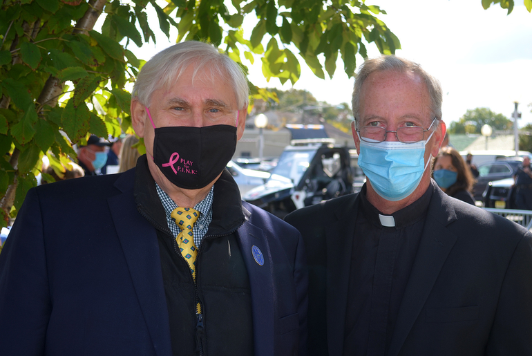Scenes from Scotch Plains Day - Al Smith and Father Michael Ward of IHM.