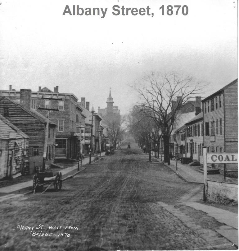 Albany St West from Bridge 1870 Van Derveer NB Savings Bank Captioned.jpg