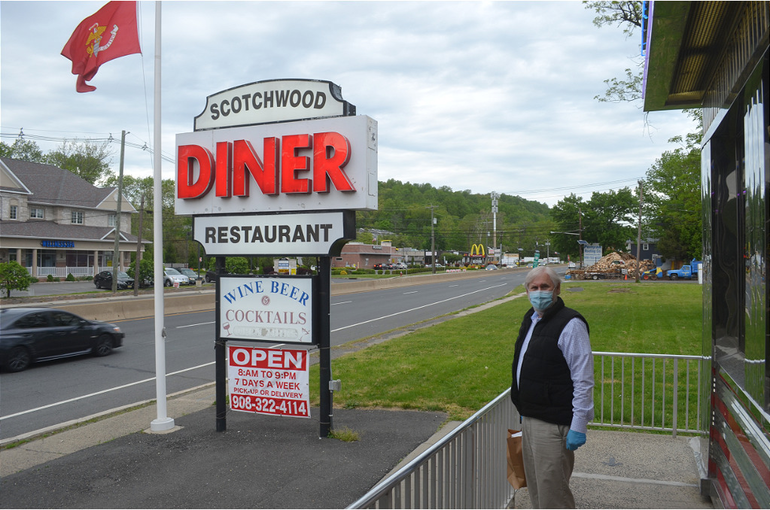 Scotch Plains Mayor Al Smith brings home dinner from the Scotchwood Diner.