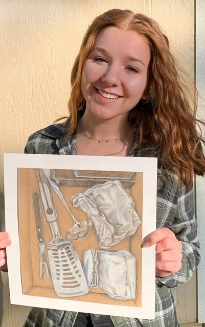 Top story 65bfcd4e83f06844aa5b alexa hernandez with a piece of her artwork