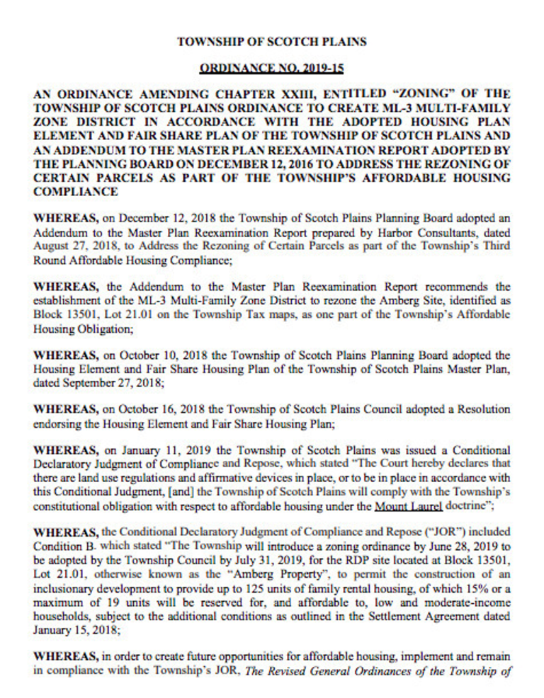 Amberg Zoning Ordinance in Scotch Plains