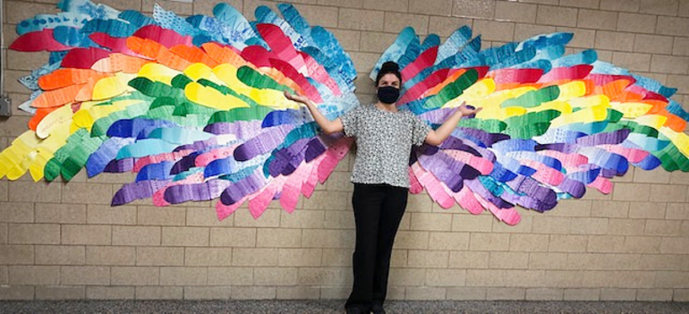 Mrs. Petrolia with wings at Holy Trinity.