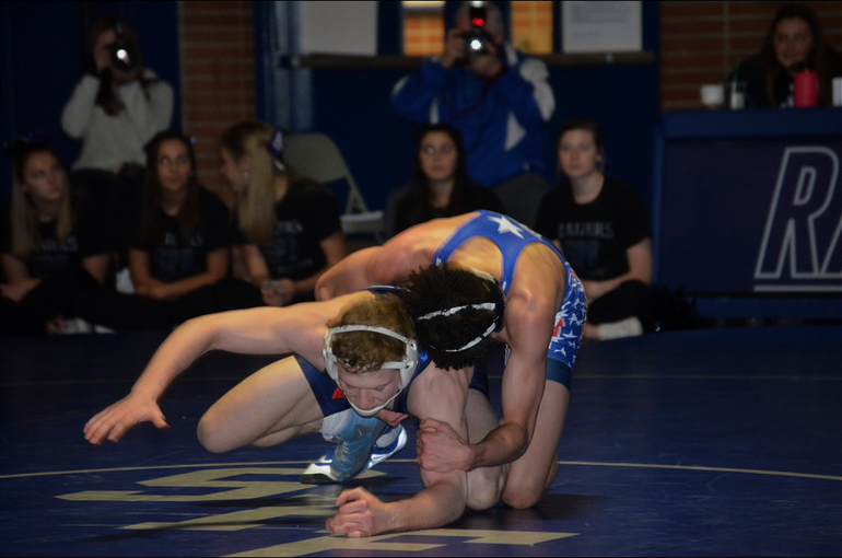 Scotch Plains-Fanwood wrestler Anthony Robinson in action.