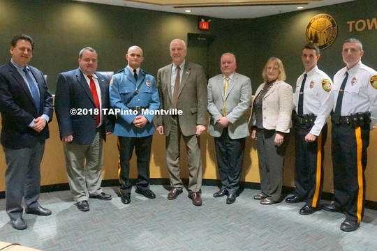 Top story 0629cf784b6b2a41e1c0 a newly sworn in patrolman michael thomas with the township committee  2018 tapinto montville
