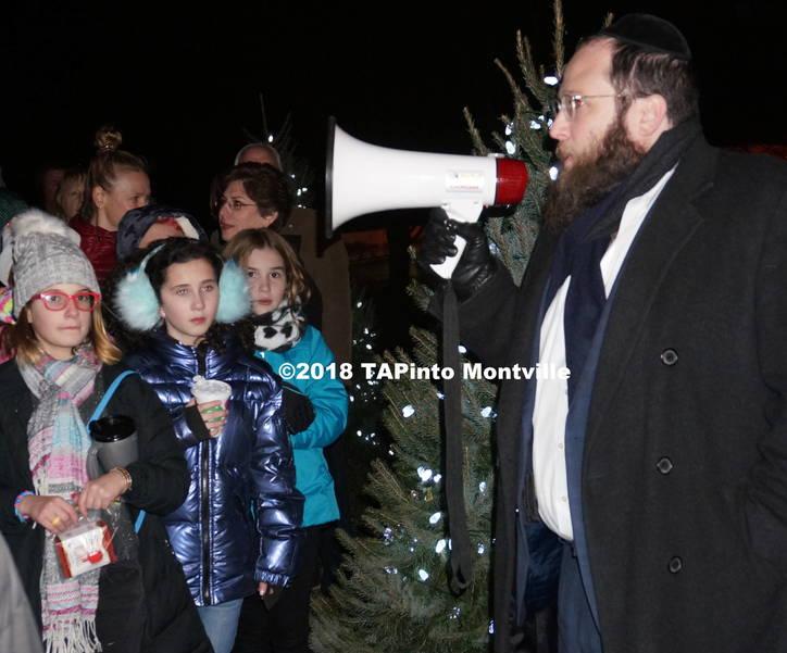 a Rabbi Yosef Spalter speaks at the township menorah lighting ©2018 TAPinto Montville.JPG