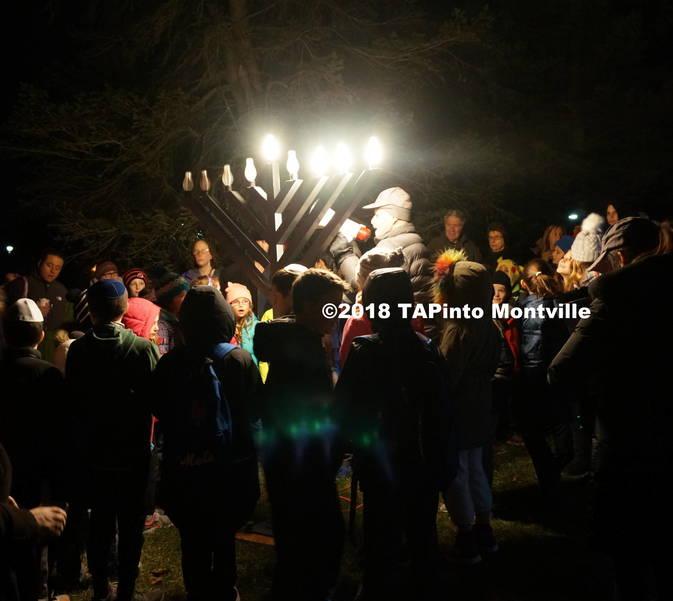 a Rabbi Mark Finkel speaks to the group at the township menorah lighting ©2018 TAPinto Montville.JPG
