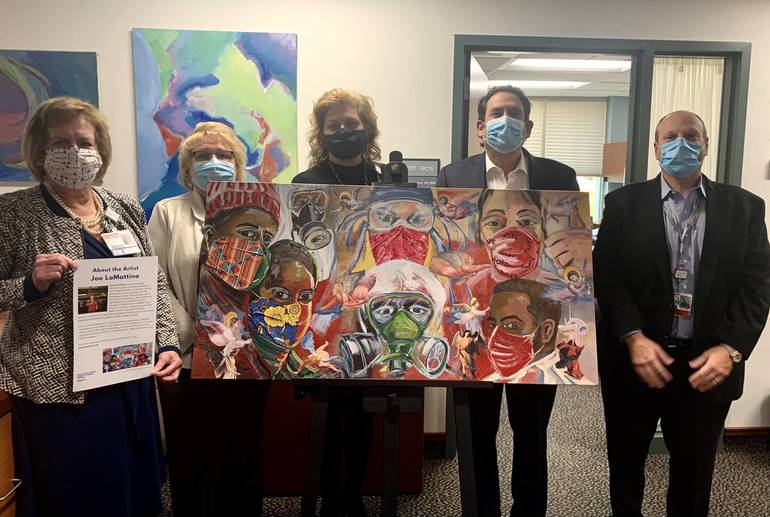 RWJUH-Hamilton Presented with Health Care Heroes Original Painting from Local Artist Joe Lamattina