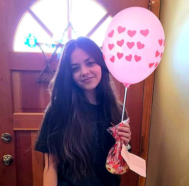 Scotch Plains-Fanwood senior Ariana Ursino receives her gift!
