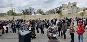 Black Lives Matter Mural Draws Large Socially DIstanced Crowd
