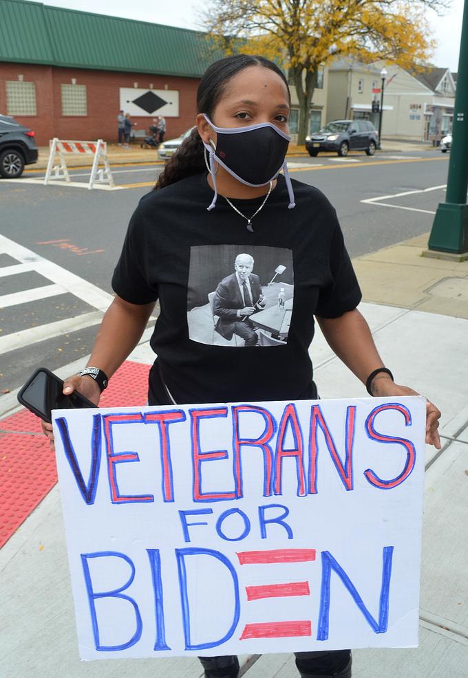 Ashley Tufuga, a veteran who lives in Scotch Plains, supports Joe Biden.