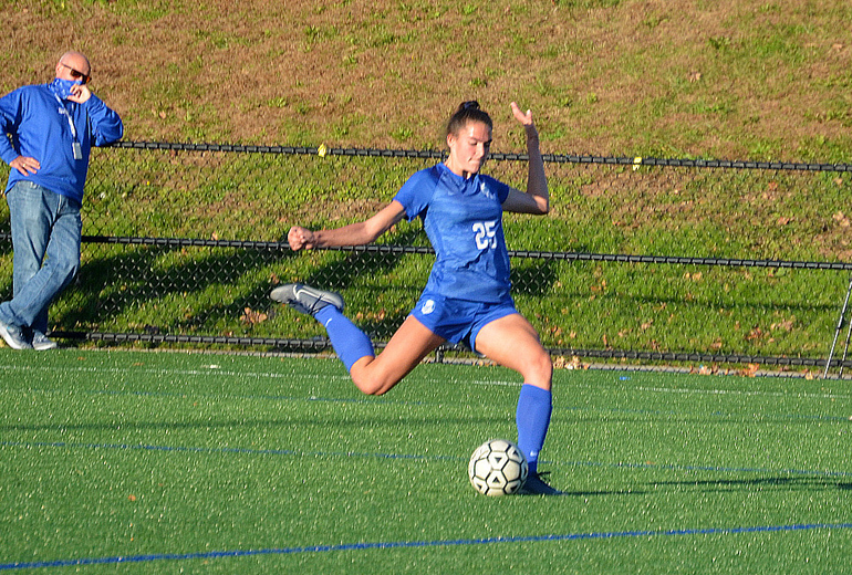 Scotch Plains-Fanwood's Ashley DiFrancesco clears the ball.