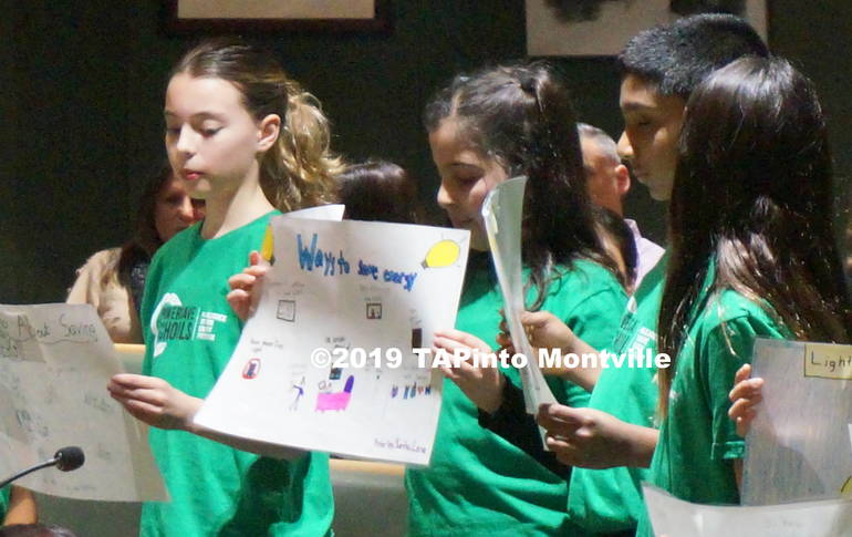 a Students from Woodmont read from their Power Save posters at the Board of Ed meeting ©2019 TAPinto Montville 4.JPG